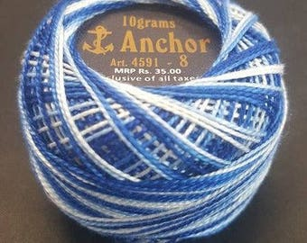 Anchor Crochet Pearl Cotton 10g – White and Blue