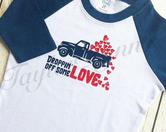 Boys valentines shirt, boys truck shirt, boys shirt, valentines shirt