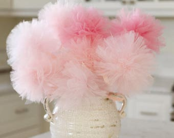 Tulle pom pom centerpiece, it's a girl shower decoration, pink ombre baby shower decorations, pink centerpiece, tulle pom poms