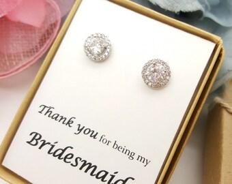 Cubic Zirconia  Flat Halo Earrings, CZ bridesmaid earrings gifts,Bridesmaid Earrings, Jewelry Gift Box