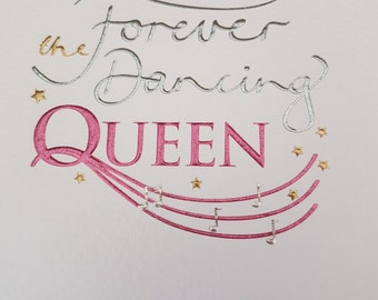 Hen Night Forever the Dancing QUEEN embossed and foiled blank greeting card, Pretty cute fun foiled card for any Occasion, Wedding Shower