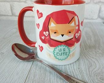 Water colour fox valentines mug coffee mug valentine mug valentines gift love mug valentines day gift mug funny mug valentines day mugs
