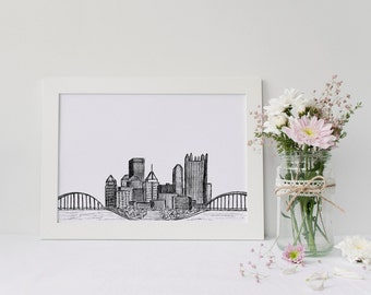Pittsburgh Skyline Drawing | 5x7 or 8x10 Print | Black and White | Gallery Wall Home Decor