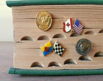Vintage Boy Scout Pins / Eagle Scout Bobcat Cub Scout / Enamel Lapel Pins / Pinewood Derby