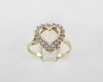 14k Yellow Gold Heart Shape Valentine Lovers Diamond Ring Size 8