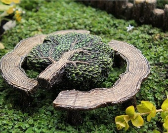 Fairy Garden  - Mighty Oak Tree Table And Benches - Miniature