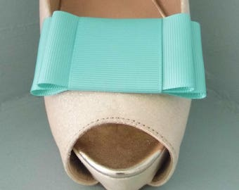 Handmade Large Deep Mint Green Bow Shoe Clips - other colours on request