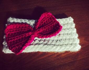 Bow Earwarmer -cream/pink