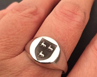 Family Crest Ring Engraved ring, Personalized Ring, Signet Ring, Initial ring, sterling silver ring black engreved ring, Crest Ring