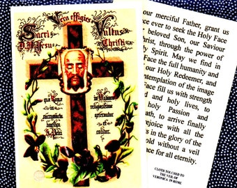 VERONICA'S VEIL RELIC holy card. New and laminated trad image of the Veil and Cross with violets. Relic card. ***postage included free***