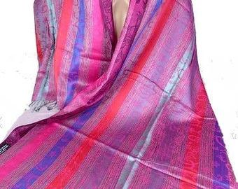 PASHMINA woman MODAL shawl wrap stole shawl Kashmir fuschia blue moda29