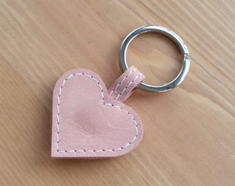 Leather heart keyring, pink heart bag charm