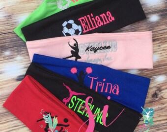 Team Sports Embroidered Headband, Lacrosse Monogrammed Headband, Personalized Headband, Sports Headband, Custom gift