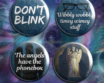 "Doctor Who badge set ""The Angels"""