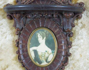 Vintage Wall Shelf with Portrait of Victorian Lady in Oval Frame. 1940's.