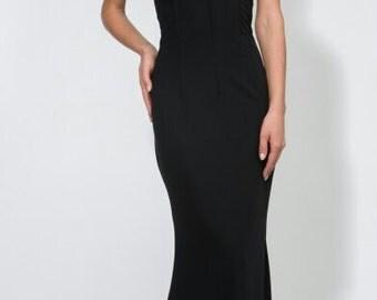 Black long dress Open shoulders Evening dress Elegant black maxi dress Wedding black dress to the floor Occasion Dress