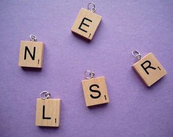 Wooden Scrabble Tile Letter Pendant