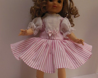 """Candy Cane Pink Stripe Dress Set for Ideal 14"""" P90 Betsy McCall Dolls"""