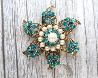 Marked AUSTRIA Star brooch aqua colored rhinestones AC054