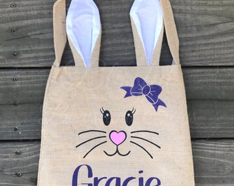 Burlap Bunny Easter Bag, Easter Bunny Basket, Easter Bag