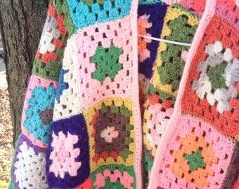SALE Vintage Hippie Crochet Afghan Sweater Jacket