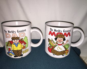Worlds Greatest Mom and Dad Cups; Vintage Japan Coffee Cups; Pair of Vintage Coffee Cups;