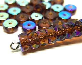 Amber Brown AB Czech Glass Belly Rondelle Beads, Faceted Brown AB Fire Polished Glass Flat Rondelle Spacers, 3x6mm - 20 beads (BR-15)
