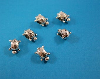 Bali Style Pewter Sea Turtle Beads Large Holes  14 x 6 x 8 mm   6 Beads