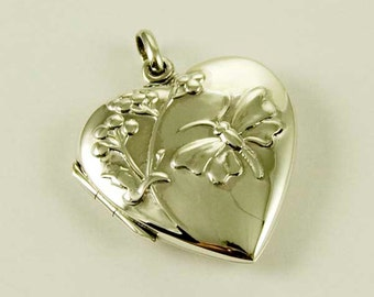 Sterling Silver Heart Locket with Butterfly Design