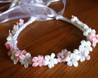 Flower Head Wreath - Bridal Bridesmaid Flower Girl Crown Floral Ribbon Hair Halo Head Piece Wreath Garland C-Linda