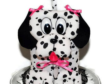 Tissue Box Cover Puppy Dog Dalmatian Print Black White Pink Handmade Fabric Tissue Dispenser Pink Bows Black Lace White Dog Tag  D-15