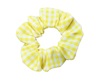 Yellow Gingham Scrunchies (Free Shipping) Made in USA Ponytail Holder Hair Accessories