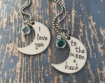 I love you to the moon and back Mother Daughter Moon Necklace Set with birthstone crystal option