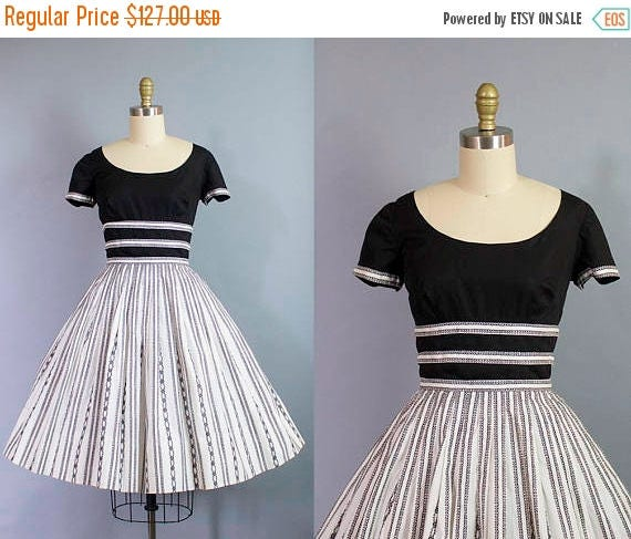 SALE 15% STOREWIDE 1950s black and white dress/ 50s cotton day dress with squiggle trim/ Pat Premo/ small