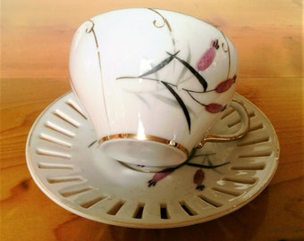 Vintage Porcelain Cup And Saucer With Cattail Like Decor And Gold Trim