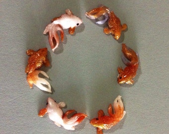Orange koi fish etsy for Blue and orange koi fish