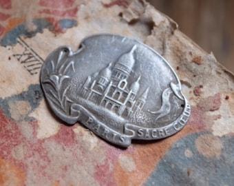 Charming Antique Silver French Charm, Sacre Coeur Basilica Paris souvenir vintage jewelry antique jewellery findings supplies