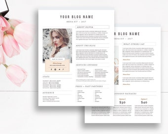 Media Kit Template 2 Page, Blogger Media Kit, Media Press Kit Template, Electronic Press Kit, Indesign Photoshop Ms Word - INSTANT DOWNLOAD
