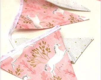 Handmade Pink & Gold Unicorn Girls Bunting