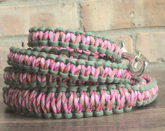 Pink Confetti and Olive Green Paracord 6ft Dog Leash