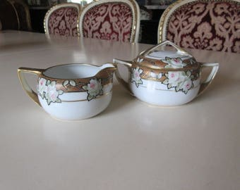 JAPAN NIPPON CREAM and Sugar Bowl with Lid