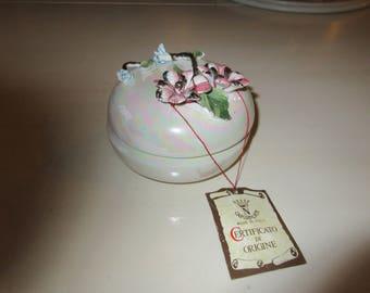 ITALY CAPODIMONTE DRESSER Jar with Lid