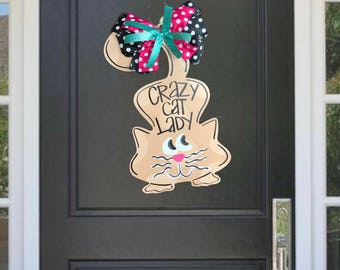 Crazy Cat Lady  Cat Door Hanger  Meow Door Decor  Animal Door Decor