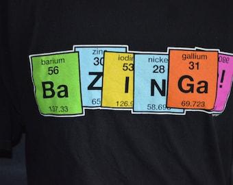 "Vintage Big Bang Theory ""Bazinga"" Periodic Table Graphic  T-Shirt (Size: XXL)"
