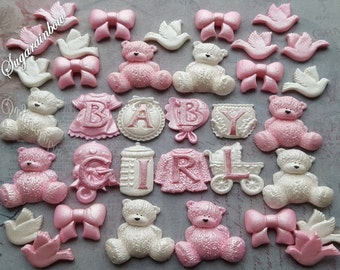 Edible sugar decorations baby shower christening nursery cake cupcake toppers AIRBRUSHED Pink/White Baby girl