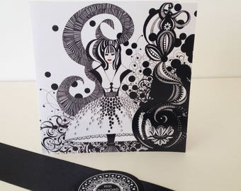 Black and white blank greeting card /Miss Lotus/floral greeting card/ fashion gift card/ card for her/hand drawn card/ ink drawn card