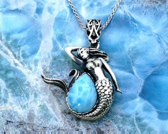 Larimar Mermaid. Stunning. 14X10mm Pair Shaiped, 12.2 Grams .925 Sterling Silver