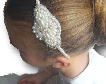 Pearl and Rhinestone Headband Hair Accessory Bridesmaid Flower Girl First Holy Communion