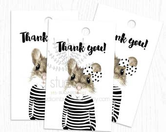 MOUSE THANK you  TAG, birthday thank you tags, printable favor tags, baby shower thank you tag, mouse tag, mouse favor tags, animal tag