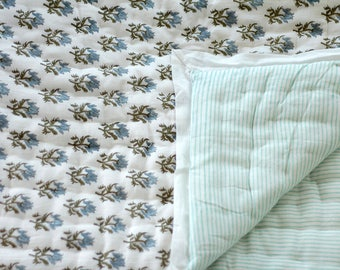 Baby quilt, reversible cotton quilt, infant quilt, baby blanket, baby gift, cotton infant quilt, green blue baby bedcover